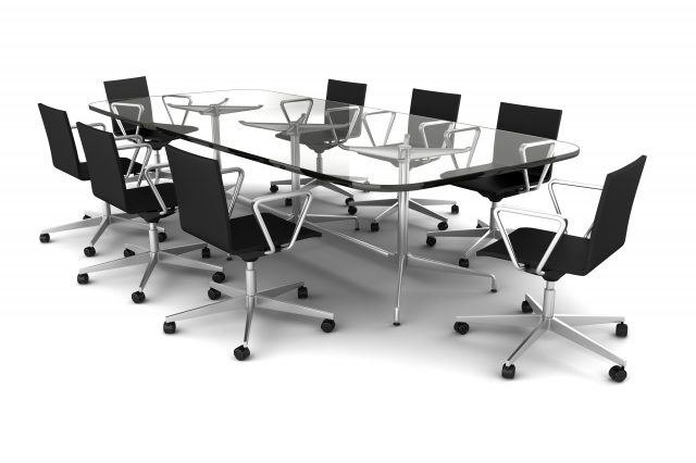 glass meeting table with black chairs isolated on white
